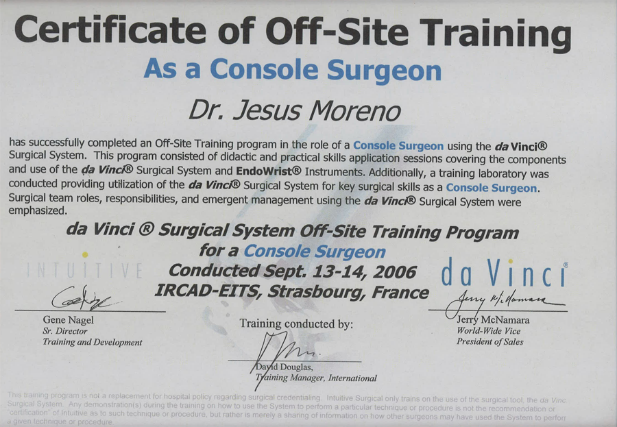 Certificate of Off-Site Training